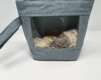 Knitting and Crochet Project Bag - Peekaboo - blue metallic
