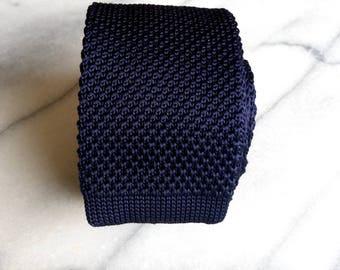 Mens Skinny Necktie/Tie - Navy Knitted Skinny Necktie/Tie, Casual Necktie/Tie, Mens Necktie/Tie, Skinny Necktie/Tie