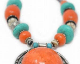 Amber and Turquoise Resin Beads Necklace, Ethnic Boho Design Necklace, Bold Style Colorful Tribal Necklace, Yoga necklace, Unique Gift