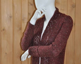Hand Knit Lace Edged Cardigan