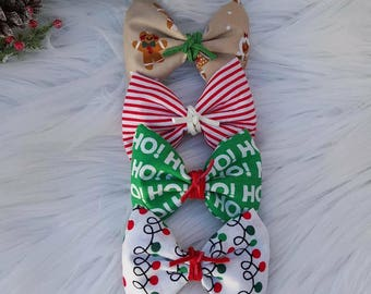 Holiday Fabric Bow~ One Size Nylon ~ Alligator Clip ~ Baby ~ Toddler ~ Girl ~ Vintage ~ Photo Prop ~ Green ~ Red ~ Suede Tie ~ Gingerbread