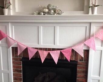 Bunting banner, Baby Girl, Pink  Bunting, Baby Girl Decor, Nursery Decor, Fabric Bunting, Flag Banner, Baby Bunting, Baby Shower Decor