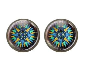 ON SALE Glass Patina Stud Earrings Gift For Mom Compass Keepsake Journey Compass Stud Earrings Ocean Illustration Teal Aquatic Studs Blue Oc