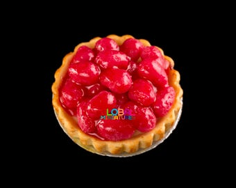 Dollhouse Miniatures Handcrafted Clay Strawberry in Syrup Round Tart on Aluminum Dish - 1:12 Scale