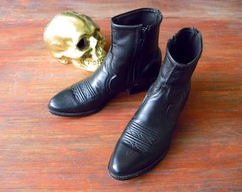 Black Leather Ankle Wyatt Western US8 Chelsea 80s 70s Rock Boots Zipper Cuban Heel 40-41EUR Saint Laurent Style Boho Band Indie Abilene