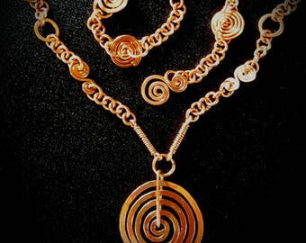 Inspirals Handcrafted Copper Necklace.