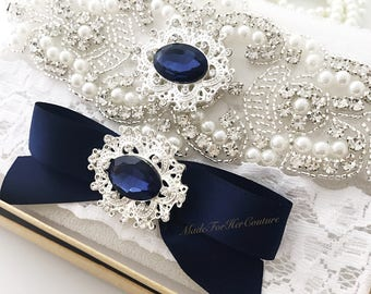 Navy blue wedding garter, navy blue bridal garter, navy wedding garter, navy bridal garter, wedding garter, bridal garter,