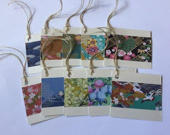 Japanese gift tags, pretty handmade tags, washi paper, cherry blossom, present tags,  set of 10