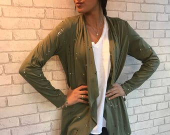 Green Cardigan with holes, light top, size - S,M