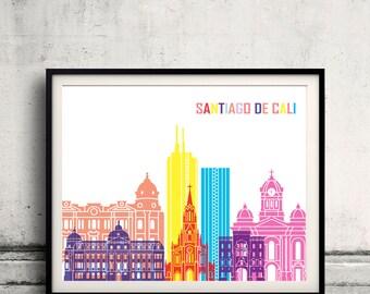 Santiago de Cali skyline pop - Fine Art Print Glicee Poster Gift Illustration Pop Art Colorful Landmarks - SKU 2427