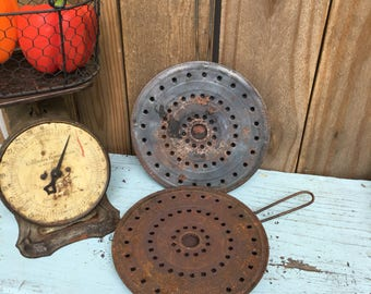 Vintage Burner Diffusers - Two Heat Diffusers - Vintage Kitchen Decor - Camping Cookware