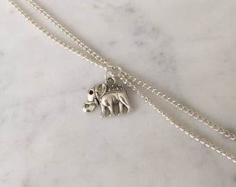 Small elephant silver charm bracelet,double chain bracelet,minimal jewelry,dainty jewelry,friendship bracelet,gift ideas for her