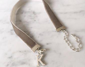 Velvet Ribbon Bracelet Silver Initial Charm,grey velvet,black velvet,red velvet,gift for bridesmaid,personalised gift