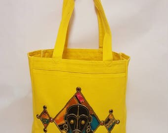 Embellished Canvas Tote Bag With Afrocentric Touch