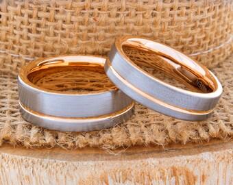 Tungsten Matching Wedding Ring Set Rose Gold Wedding Band Ring 8mm 6mm 18K Men Women Anniversary Promise Engagement Wedding Matching Ring