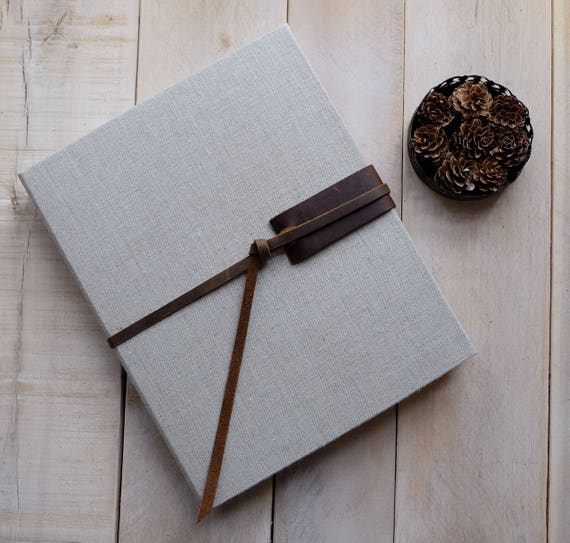 Linen and Leather Watercolor Sketchbook - Large Natural Linen with Rustic Vintage Style Distressed Leather Tie
