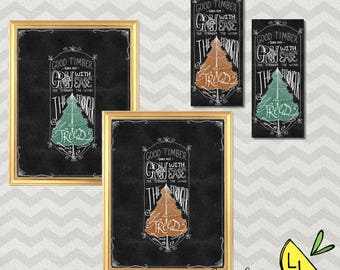 LDS Art, Good Timber Quote, Poster Bundle, Chalkboard, Printable Art, Hand drawn, Cute Bookmarks, Thomas S. Monson, LDS Decor, LDS gifts,