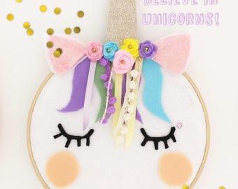 Unicorn Decoration/ embroidery hoop/ wall art/ kids room decoration