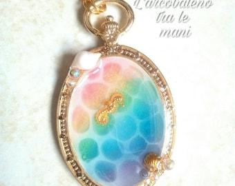 Bezel Necklace-bezel charms-fantasy necklace-Fantasy Jewelry-Rainbow resin-Sea horse-water effect-UV resin