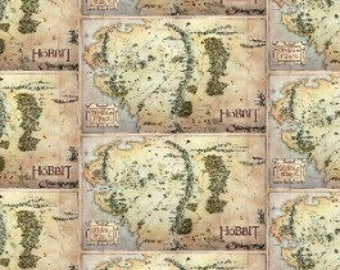 LOTR Map Fabric / The Hobbit Fabric / Lord of The Rings Fabric Rings Digitally Printed / Camelot 23210103J Fabric By The Yard, Fat Quarters