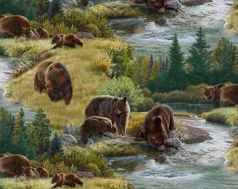 Grizzly Bear Fabric / Bears & Stream Yardage / Brown Bear Fabric / North American Wildlife Elizabeth's Studios 5013 / Yardage, Fat Quarters