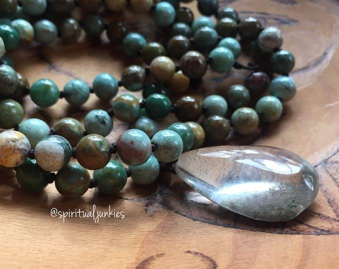 Green Australian Jade + Garden Quartz Crystal (Rutile Quartz / Lodolite) Mala | Spiritual Junkies | 108 Bead Handknotted | Yoga + Meditation