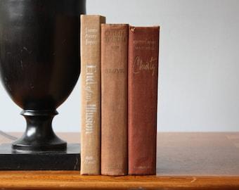 Brown Books, Vintage Books, Antique Books, Vintage Collection, Book Décor, Wedding Decor, Home Decor, Centerpiece, Office Décor, Book set
