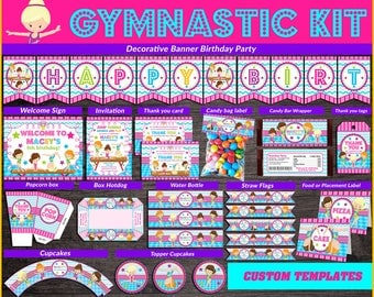 Gymnastics printable party kit, Gymnastics Party Birthday package, Gymnastics themed party kit, Party package Gymnastics Girls.