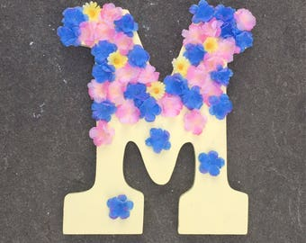 Handpainted letters with little flowers