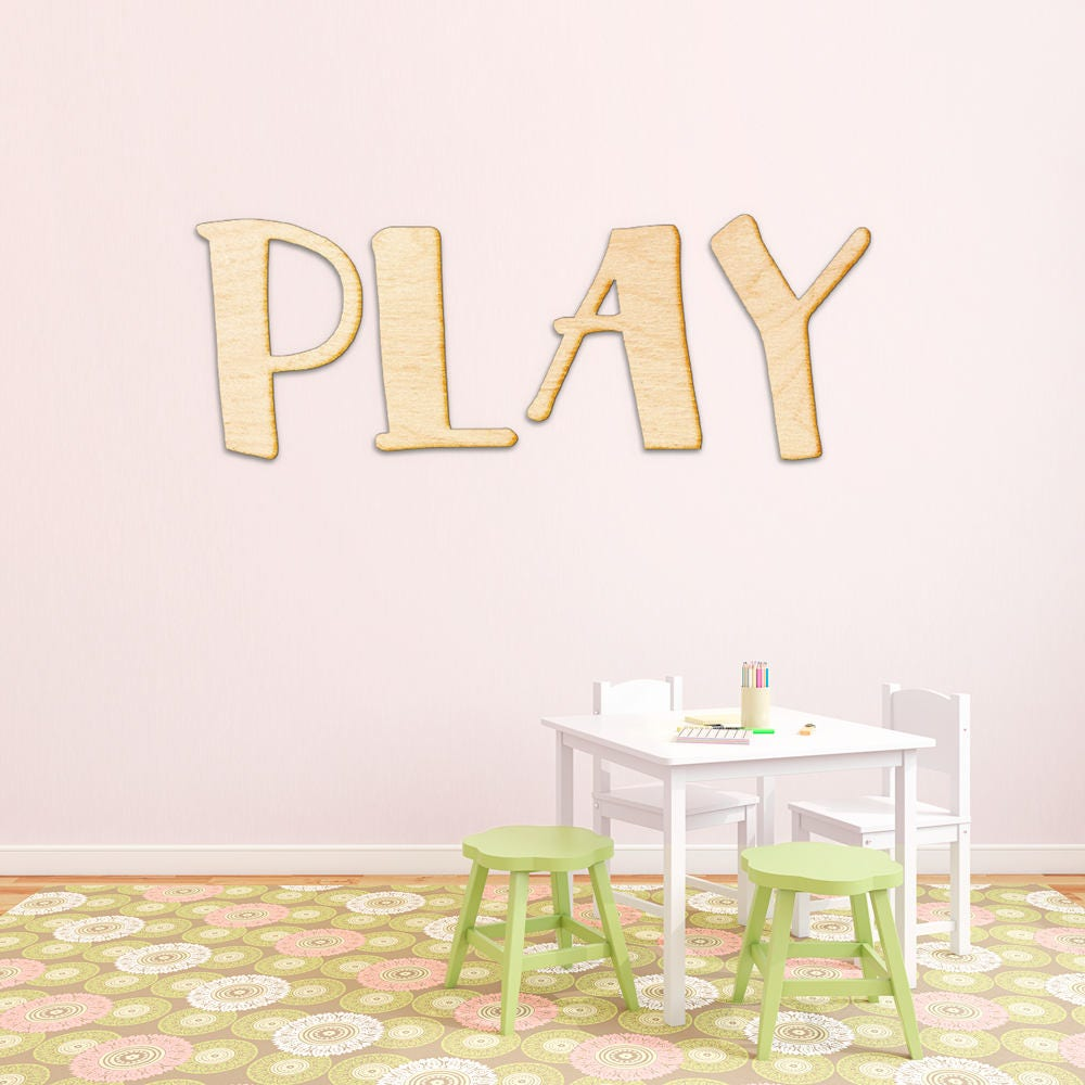Play Letters Wood Sign Art Playroom Wall Decor Wooden