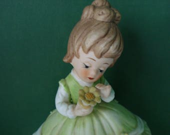 Vintage Girl With Flower Figurine by Lefton