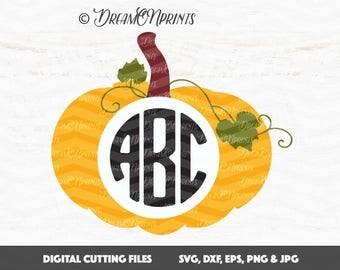 Pumpkin Svg, Pumpkin Monogram Svg, Jack O Lantern Svg, Monogram Svg, Halloween Svg Thanksgiving, Monogram Frames Cut Files SVDP335