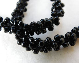 2 meters of cord with seed beads Black 6 mm top stitched for clothing