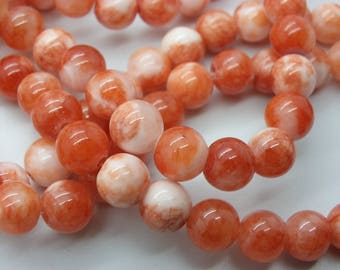 49-50 beads 8 mm Peking jade 1.5 hole a tomato red rose
