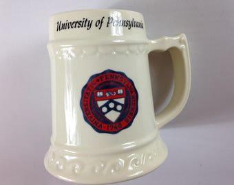 Pennsylvania University Stein Large Mug Penn Quakers Cup Beer Alumni Student