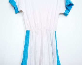 Lady Ronté 1970s Terrycloth Summer Tennis Dress Blue and White - Sz Small