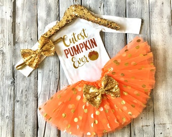 Baby girl halloween outfit, gold orange halloween outfit, cutest pumpkin in the patch, pumpkin patch outfit, newborn halloween outfit