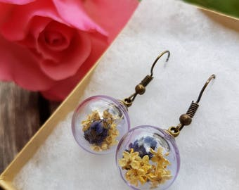 Lavender and elder flower earrings, lavender, elder, dried flower bijoux, lavanda