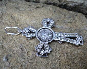 """925 silver big cross pendant with Jesus and the words """"save and protect"""" a woman, religion, decoration."""