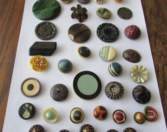 Vintage Lot of 35 Mixed Buttons Interesting Group Celluloid Plastic Tight Top Button