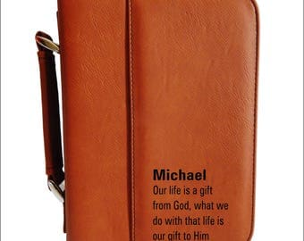 Unique Friend Bible Cover Gift, Christian Friendship-Bible Study Member Gifts for Him-Her, Personalized Engraved Leather Bible Case, BCL020