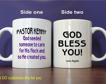 Church Minister Pastor Custom Coffee Mug Gift, Personalized Appreciation Mug Gift for Our Pastor, Christian Pastor Thank you Gift, MST007