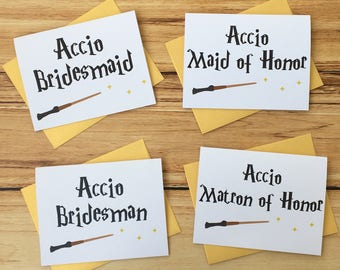 Accio Bridesmaid | Harry Potter Bridesmaid Card | Bridesman Card | Maid of Honor Card | Matron of Honor Card | Harry Potter Wedding