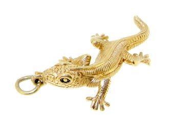 9ct yellow gold lizard reptile charm