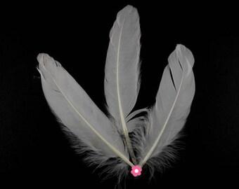 x 6 10-15cm white goose feather (54F)