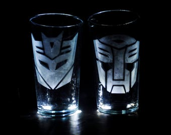 Transformers Autobot and Decepticon Pint Glasses set of two