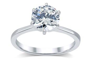 Diamond Engagement Ring 2.5 Ct; Minimalist Solitaire Diamond Ring 14K Gold- Tapered Band Solitaire Engagement Ring- Round Real Diamond H- I1