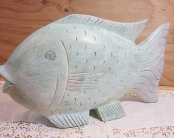Vintage Rustic Hand Carved Solid Wood Fish Decor * Folk Art Wooden Fish Statue *  Primitive Fish Decor * Shabby Chic Fish Wood Carving