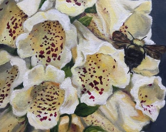 """8x8 inch floral acrylic on cradled wood panel. Title ~ """"Foxglove and Bee"""". Original artwork."""