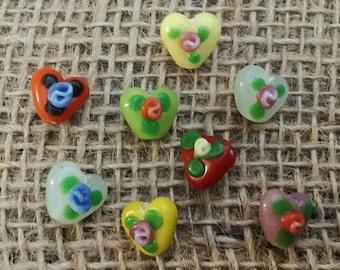 3 | Little Heart with Flowers Lampwork Glass Beads | Valentines Day Jewelry | Heart Earrings | Love Bracelet | 10x10mm